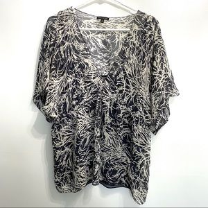 The Limited blouse with cami XL black white 116B2